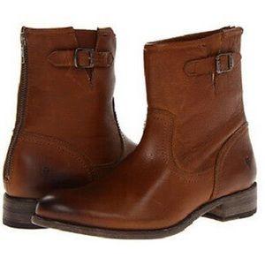 Frye Cognac Pippa Back Zip Short Booties 7 boots